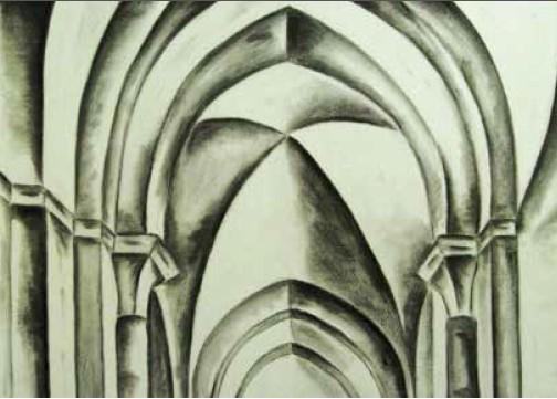 九年级学生要求画黑白画来研究外部形态,重点强调光和影及透视。
