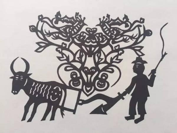陕西安塞剪纸 牛耕图
