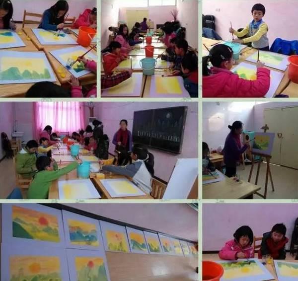 衡培娟老师和孩子们在湿水彩课堂上