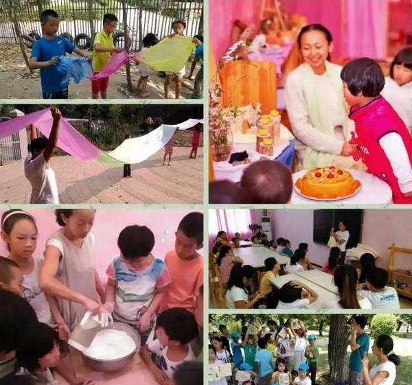李薇老师带夏令营孩子们在手工、烹饪、植物染布活动中。