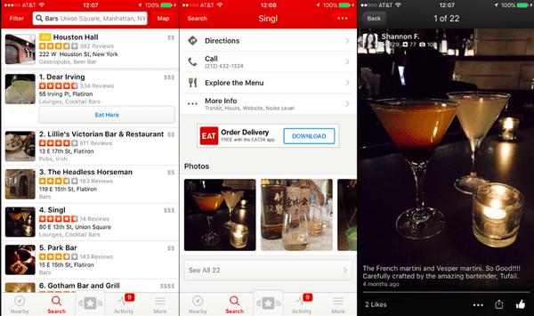 """Yelp 巧妙地用酒吧的鸡尾酒照片改变了人们原本的需求——""""我们可以去什么地方接着聊?""""。"""
