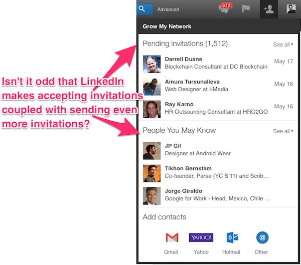 奇怪的是接受 LinkedIn 的关联邀请时,总是会让你再发送七个关联邀请。
