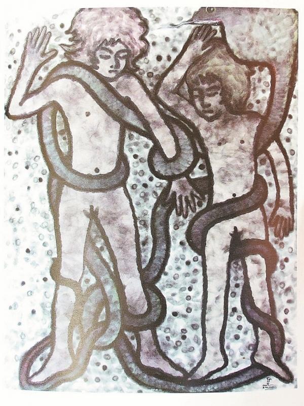 朴门是一名艺术家,他常以社会面貌作为他画作的灵感。图为两人被大蛇捆绑著四肢,形容著人生来是自由的,却生存在层层枷锁之中。